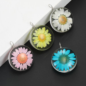 Fashion Colorful Dried Flower Small Daisy Charm For Jewelry Making Handmade Glass Pendant Fit Necklace DIY Fashion Kids Jewelry Accessories