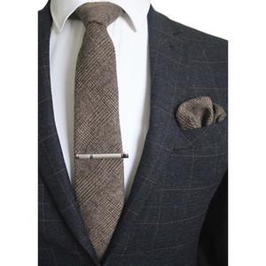Wool Tie Set Mens 8cm 넥타이 손수건 클립 체크 무늬 단색 넥타이 포켓 스퀘어 레드 브라운 그린 그레이 남성용 결혼식