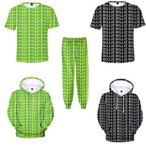 camisetas para hombre de moda de verano Billie Eilish 3d camiseta Carta estilo harajuku impresión divertida camiseta / sudaderas / pantalones verde de neón del traje T200516