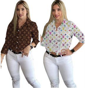 Womens camicette manica lunga signore di modo di stampa delle donne della camicia cappotto tuta sportiva femminile casuale cime abbigliamento donna klw2716