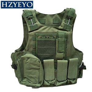 HZYEO Camouflage Chasse Manteau CS Chasse Militaire Tactique Gilet Wargame Corps Molle Armure Équipement de Plein Air 5 Couleurs