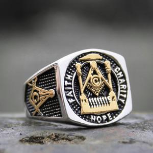 Мужская масонская Free-mason заявление кольцо золотой цвет 316L кольцо из нержавеющей стали масонства перстень кольца байкер ювелирные изделия