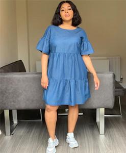 2019 diseñador de la mujer del vestido del verano azul del estilo sport del equipo de Loose caliente precioso cuello La mitad Vestido De Manga para mujer Ropa de moda