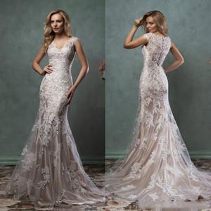 Off shouler Renda Vestidos de casamento da sereia do vintage com apliques Tribunal Trem Jewel Neck Tulle Wedding Birdal Vestidos