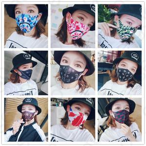 Yetişkinler Köpekbalığı Baskı Yüz Maskesi Ağız-muffle Sokak Hiphop Maskeleri Camo Bisiklet Trendy Maske Toz Geçirmez Haze Koruyucu Yüz Maskeleri D4902