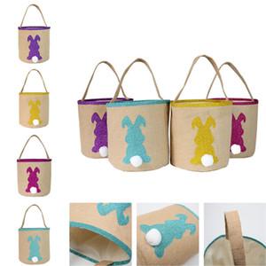 Burlap Easter Baskets Fluffy Rabbit Tails Buckets Jute Glitter Bunny Tote Gift Candies Eggs Sequins Handbags Kids Barrels Basket D11504