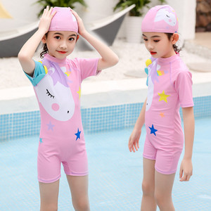 Cute Girls Unicorn Swimsuit Summer One Piece Girls Baby Swimwear + Hats Swimming Suit Bikini Protective Sun Quick Drying Beach Swimsuit 2020