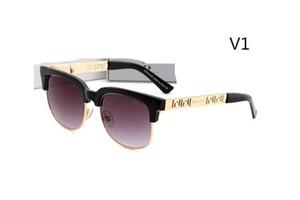 2166Designer 색안경 복고풍 라운드 프레임 평면 안경 클래식 빈티지 브랜드 남자 안경 태양 안경 UV400 메탈 하프 프레임 렌즈