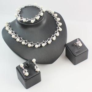 Klasik İmitasyon İnci Kolye Kulak Bilezik Yüzük Seti Gümüş \ Altın Kaplama Şeffaf Kristal Gelin Takı Parti doğumgünü hediye Setleri