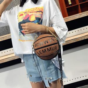 2019 Forma de baloncesto de la cadena bolsas Crossbody de las mujeres Circular mujeres de los bolsos de hombro femenino embrague bolsa