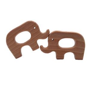 4 unids Accesorios de Bebé Habitación Encantadora de Dibujos Animados De Madera Elefante Mordedor Unicornio Natural Juguetes de Madera En Forma DIY Collar de Dentición Haya Bebé Teethers