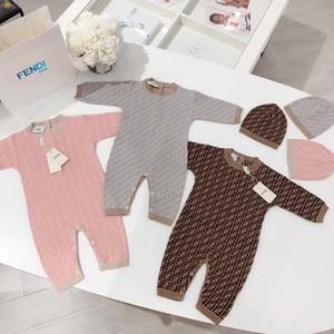 Lüks Tasarımcı Yeni Doğum Bebek Giyim Unisex Giyim Boy tulum Çocuk Kostüm Kız Bebek tulum için + şapka Çocuk Sonbahar Giysiler