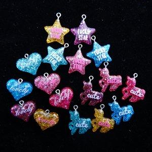 Lucky Star cuore bello Cute incanta i pendenti Unicorn posteriore piana resina per la collana fai da te orecchino monili che fanno accessori