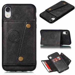 PU Cuir Cadre Slots Cas de téléphone pour iPhone XS Stand Stand personnalisé iPhoneXS XR x 8 7 11 PRO Slim Portefeuille couvercle