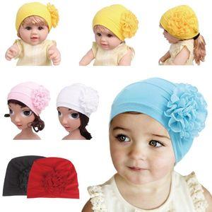 Muslim Kids Cotton Flower Cap Cute Girls Turban Hat Islamic Bonnet Arab Head Wrap Beanies Skullies Middle East Cover Pleated New