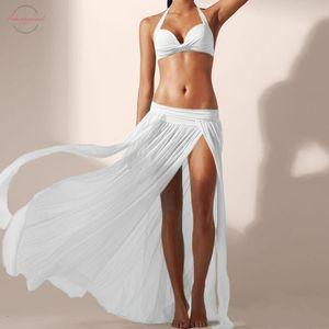 Women Long Skirt Summer Sexy Boho Skirts Asymmetrical Split Sandy Beach Skirt Falda De Playa Clothes Beach Skirt Falda Corta *