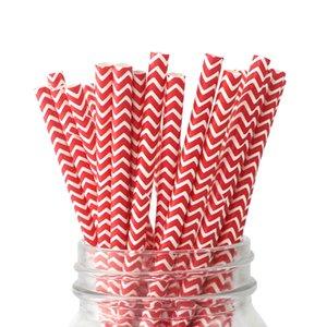 Livraison Gratuite 2000pcs / lot Rouge Chevron Pailles En Papier Biodégradable Papier Pailles À Biberon Douche D'anniversaire Fête De Mariage Fournitures De Fête