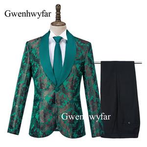 Gwenhwyfar luxe Corne Jacquard Costumes Vert foncé Slim Fit Smokings Blazer Groomsmen pour le mariage Graduation Prom Blazer Pantalon
