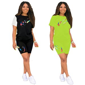 Women brand designer 2 piece set summer clothes jogger t-shirt shorts sweatsuit pullover leggings outfits tee top bodysuits hot selling 0210