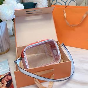 Crossbody de la moda bolsa de diseñador cosmético del bolso de las mujeres bolsos de lujo claro transparente de PVC Carta mujeres Camera Bags remiendo bolsa de jalea con la caja