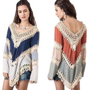 Sommer Frauenkleid Baumwollspitze Mädchen Minikleid aus reiner V-Ausschnitt lose Spitze häkeln weibliche Nagerwear Strand Backless Kleidung