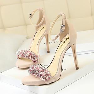 Sexy sandálias de pérolas sandálias sapatos de festa stiletto plataforma sandálias sapatos de mulher zapatos de mujer sandalias mujer 2019 chaussures femme