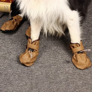 4 pcs Waterproof Dog Shoes Reflective Anti Slip Rain Boots Adjustable Winter Warm Socks Sneaker Paw Protector For Dogs Cat