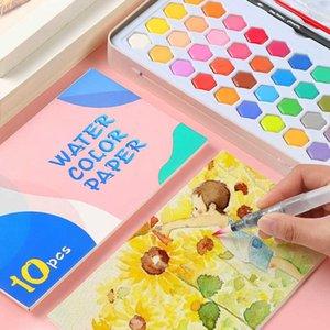 나무로 되는 극 36 색깔 솔 펜 고정되는 물 솔 Gouache 안료 학교 예술 문구용품을 가진 고품질 단단한 수채화 물감 페인트