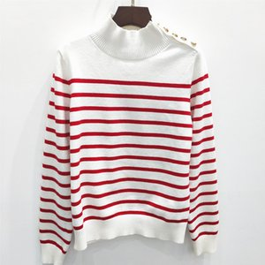 Europe and The United States autumn winter new women's half-high collar contrast color stripe embroidery long-sleeve pull-over slimming