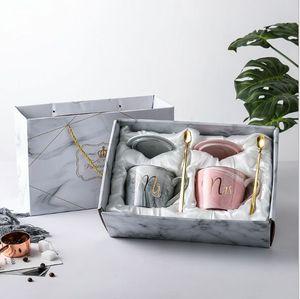 Kaffeetasse Marbling Becher kreative Nordic Keramikbecher Brautbecher 301-400ml Flamingo Hochzeitsgeschenk Porzellan 2019 neu stärken