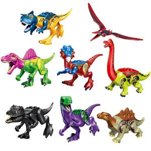 Nuovo arrivo 8 pezzi lotto Jurassic Dinosaur World T-Rex Raptor Triceratops Mini Action Figure Big Size Building Blocks giocattolo per i bambini