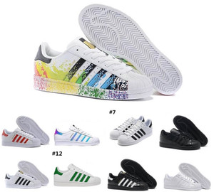 2020 Adidas vendita Originals Superstar bianco Ologramma iridescenti Oro Rosso Superstars 80s Orgoglio Sneakers Super Star signora uomini di sport dei pattini casuali 36-45