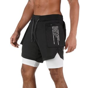 2019 Yaz 1 Spor Koşu Spor Şort Eğitim Hızlı Kuru Erkek Spor Erkek Spor salonu Kısa Pantolon Şort Men 2 Running