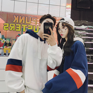 Privathinker Harajuku de gran tamaño con capucha larga de las mujeres de la manga parche con capucha Escudo de Corea pareja suelta la camiseta 2019MX191011