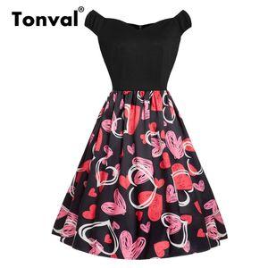 Tonval style rétro en forme de coeur graphique impression Vintage robe femmes mancherons robe noire robe femme pin up été