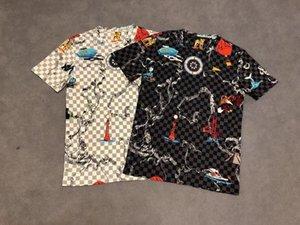 20SS мужские футболки тройник париж буквы решетки Корона тотем печать одежду с коротким рукавом рубашки Мужчины Женщины реальный Новый