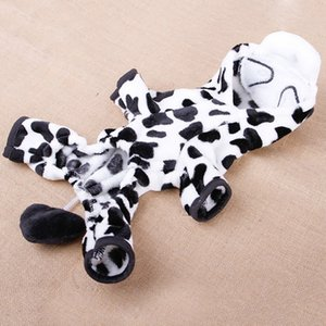 Hoopet Super Warm Coral Velvet Dog Coat Cosplay Milk Cow Jacket Fashion Hoodie Pet Outer Garment Puppy Costume