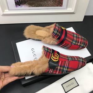 mocassins de couro Muller chinelo Mens sapatos de designer com fivela de Moda Feminina Homens Princetown chinelos Casual mulas Flats 35-45 b01