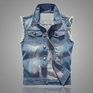 Bouton Plus Size Manteaux Hommes Ripped Gilet et veste Casual Denim Vestes hommes Retro manches Slim Fit Homme Jeans Débardeur