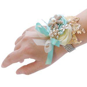 2020 Style rustique mariée poignet corsage pour les costumes de mariage pour les hommes mariés Groomsmen costume de mariage des hommes Perles Fleurs palefreniers Rose