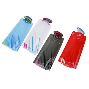 Portable 1L Outdoor Foldable Light Drinking Water Bottle Bag Folding Plastic Pouch Bladder Sport Bags for Camping Hiking Picnic