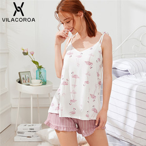 Vilacoroa Flamingo-Druck Cami Top und gestreifte Shorts PJ-Sets Sommer Spaghetti-Bügel-Sleeveless Rüschen Frauen Rosa Nachtwäsche CX200703
