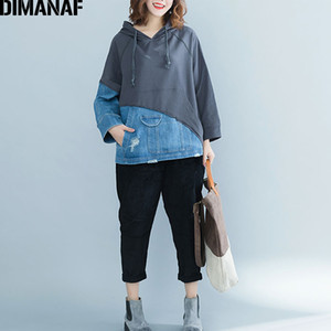 DIMANAF Femmes Sweat-shirts Automne Hiver Thicken Vêtements Femme Pull Vintage Tops Taille en vrac plus Denim épissé 2020