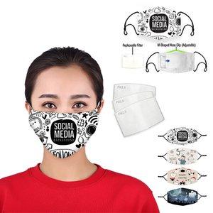 designer face mask Digital printing adjustable protective mask dust and haze with PM2.5 filter cross-border breathable face masks
