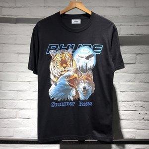 Rap marca de moda RHUDE de manga curta T-shirt RHUDE High Street hip-hop ocasional solta impressão T-shirt de mangas curtas