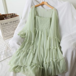 2020 Women Summer Chiffon Beach Long Coat + Dress Strap Maxi 2 Piece Sets Sexy Off Shoulder Bohemian Style Sleeveless Suit H122