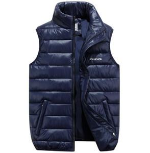 Herbst Winter Mollige Ultra Thin unten Cotton Puffer-Weste-Jacke Mäntel Herren Zipper High Neck Gilet Jacke mit Taschen S-6XL