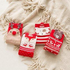 A Christmas Women &#039 ;S Socks Red Cotton Cartoon Medium Xmas Ladies Socks Autumn Winter Cotton Socks Party Gift 4pairs Lot Ffa3228