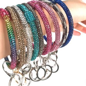 New Silicone Wrist Key Ring Glitter Crystal Rhinestone Silicone Bracelet Keychain Bangle Women Circle Car Key Chain Jewelry Accessories Gift