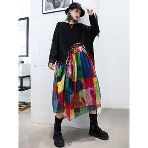 20190921 manchon mousseline genou mi-longs longue grande taille de jupe lâche